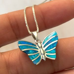 Sterling Silver Blue Opal Butterfly Necklace